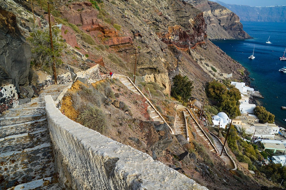 The steps up to the main village of Oia, Santorini, Greece