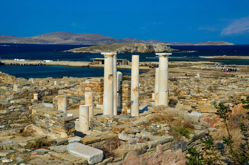 Standing marble columns, Delos, Greece