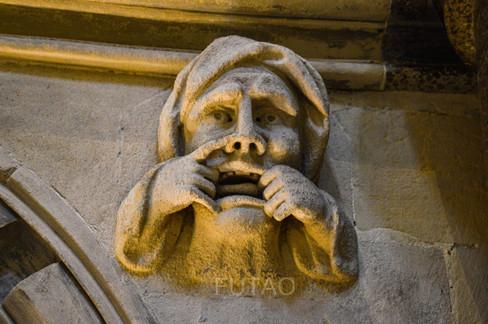 Faces inside Templar Church, London, England