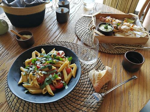 Meal at Reeza Restaurant at Rocabella Mykonos Resort, Mykonos, Greece