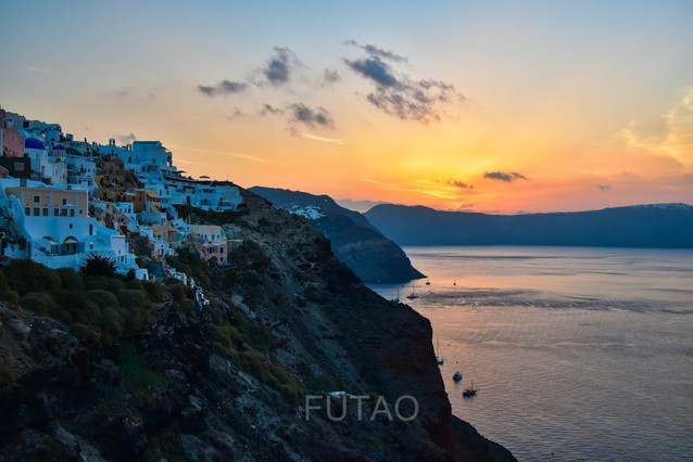 Sunrise in Oia, Santorini, Greece