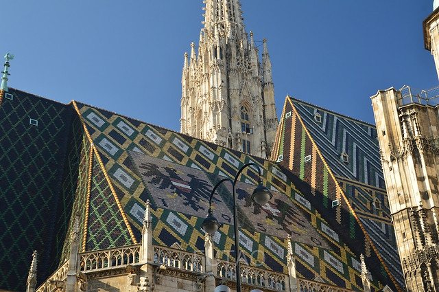 Detailed roof on St. Stephen's Cathedral, Vienna, Austria