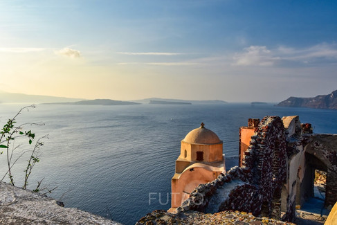Water view from Oia Castle, Santorini, Greece