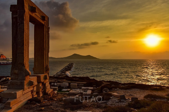 The Temple of Apollo, Naxos, Greece at sunset