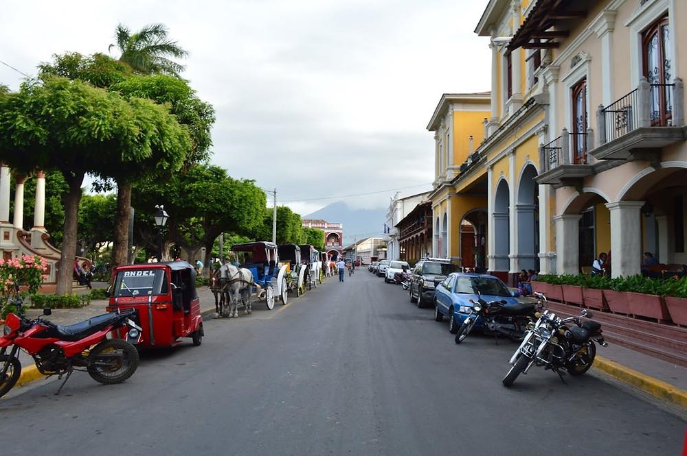 Transportation in main square in Granada, Nicaragua