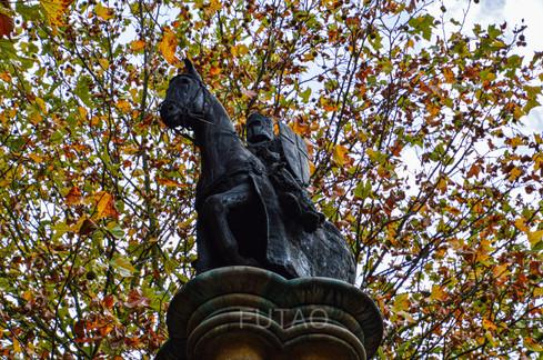 Templar Knight Pillar, outside Templar Church, London, England