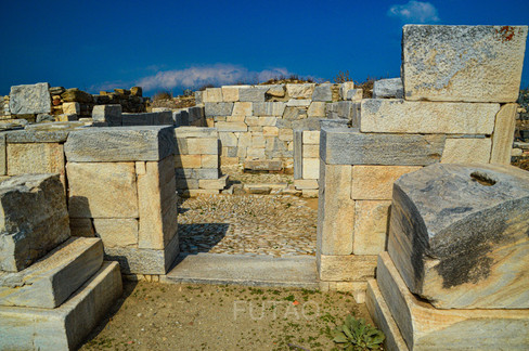 Marble structure near the Temple of Isis, Delos, Greece