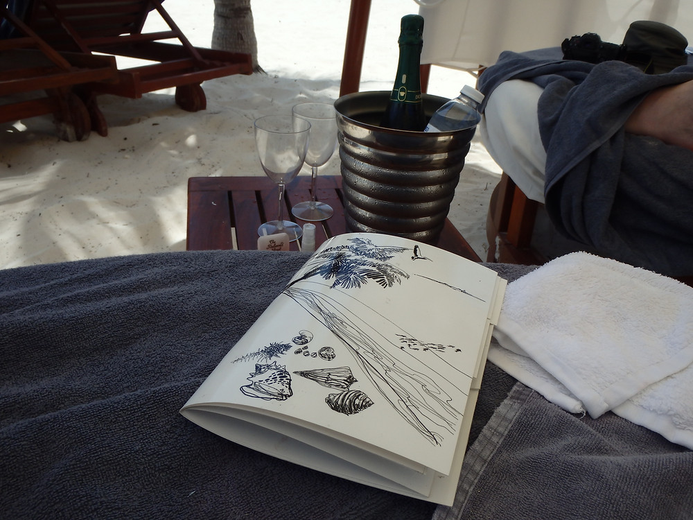 Champagne delivery and menu inside our private beach cabana, Beloved Playa Mujeres, Cancun, Mexico