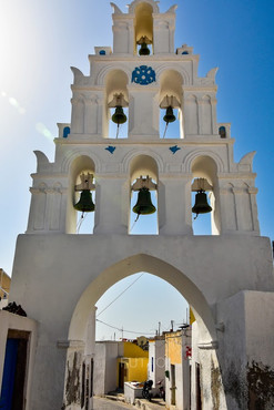 Famous bells of Megalochori, Santorini, Greece