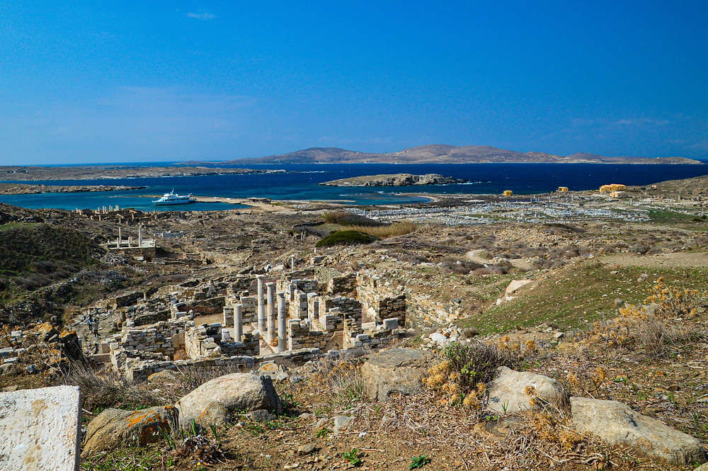 Standing upon a high viewpoint on Delos, Greece