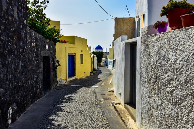 Streets of the Megalochori village, Santorini, Greece
