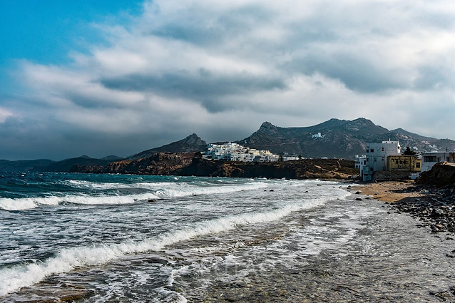 Chora Naxos, view from the beach, Greece