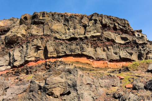 Rock formations near Ammoudi Bay, Santorini, Greece