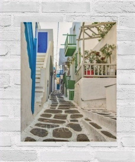 Mykonos Side Street with Flowers