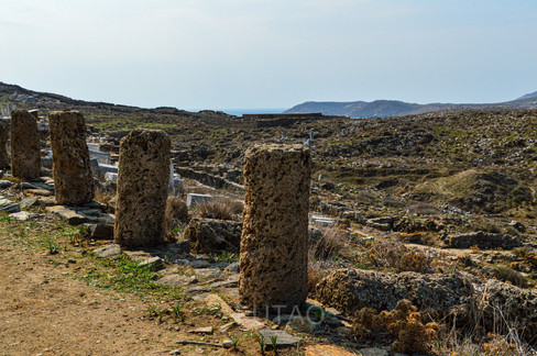 Delos upon the descent from the Temple of Isis, Delos, Greece
