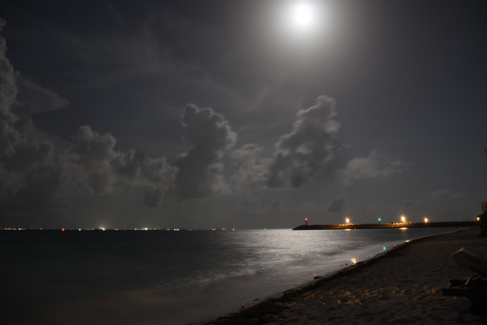 Beloved Playa Mujeres Beach at night.