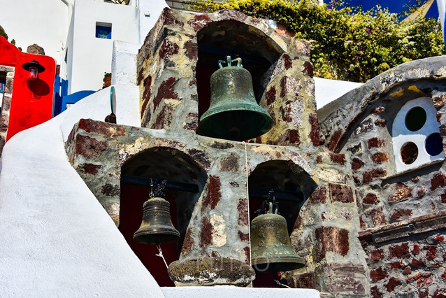 Ancient bells, Oia, Santorini, Greece