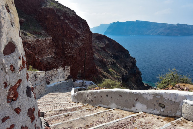 Steps down to Ammoudi Bay, Santorini, Greece