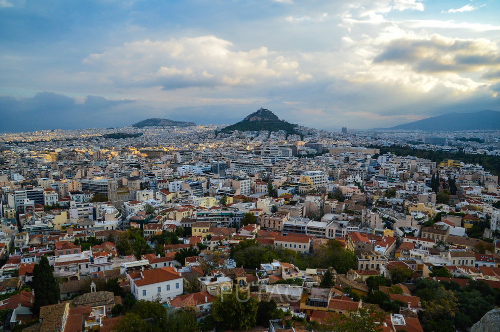 View of Athens from atop the Acropolis, Athens, Greece