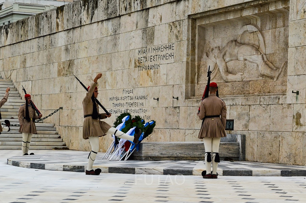 Ceremonial Guards at the Hellenic Parliament, Athens, Greece