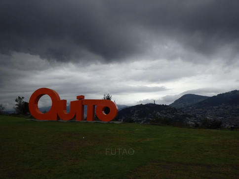 Quito Sign with panoramic view, Quito, Ecusador