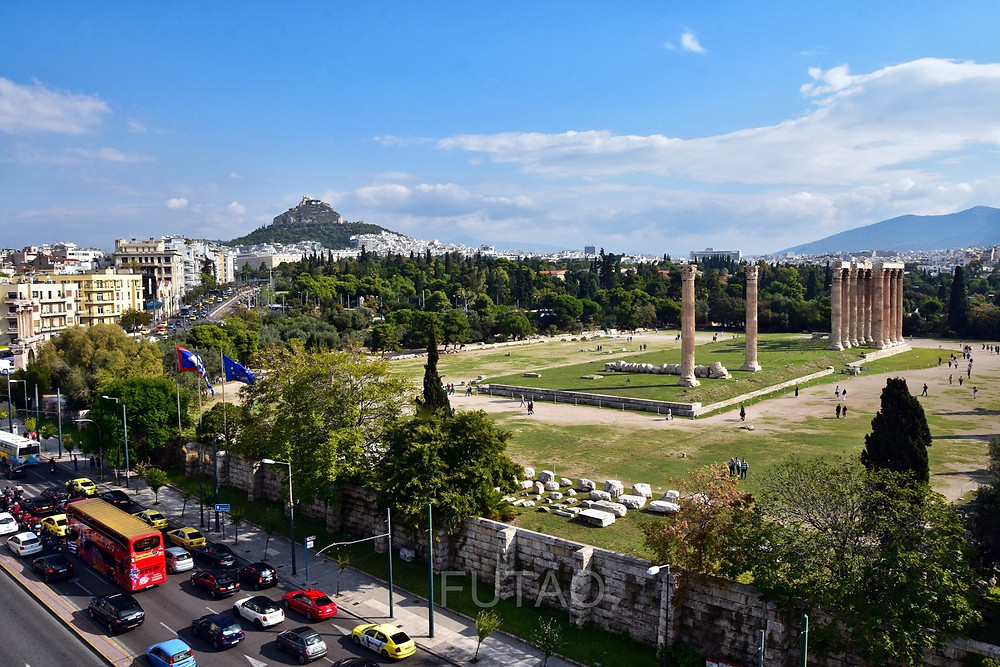 View of the Temple of Olympian Zeus from the Athens Gate Hotel, Athens, Greece