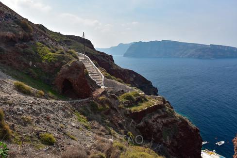 Steps down to Ammoudi Bay, Santorini, Greece