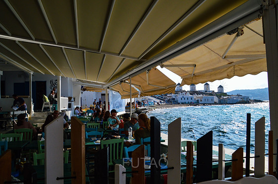 Restaurant in Little Venice, Mykonos, Greece
