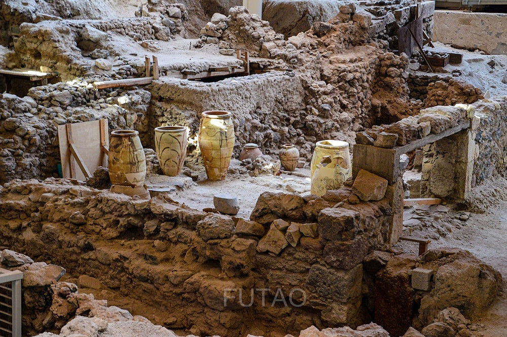 Excavated ruins at the archeological site of Akrotiri, Santorini, Greece