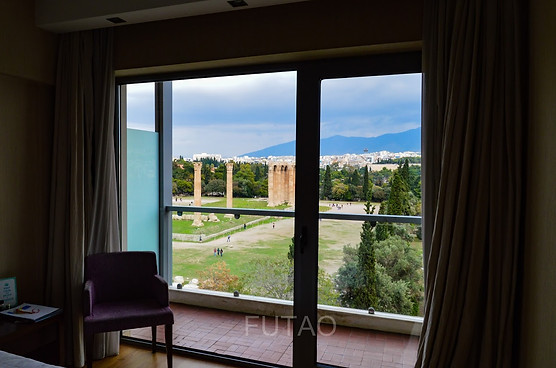 View of the Temple of Olympian Zeus from baclony of Athens Gate Hotel, Athens, Greece