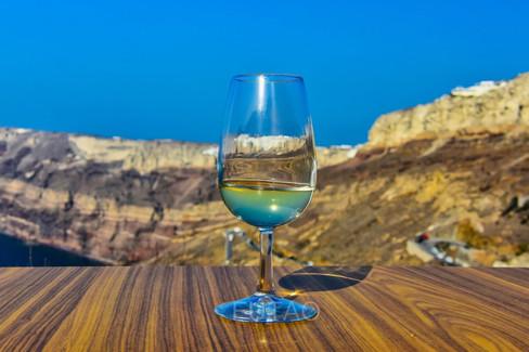 View from a winery balcony, Santorini, Greece