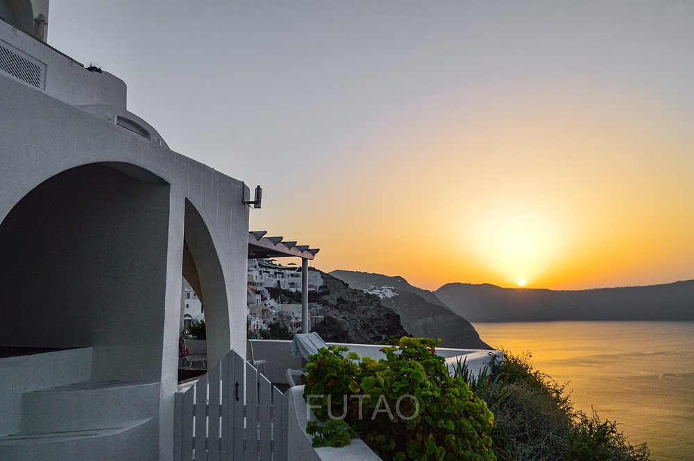 Sunrise from our deck at Helianthus Suites, Santorini, Greece