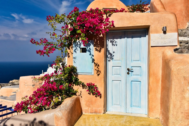 Beautiful door in Santorini, Greece