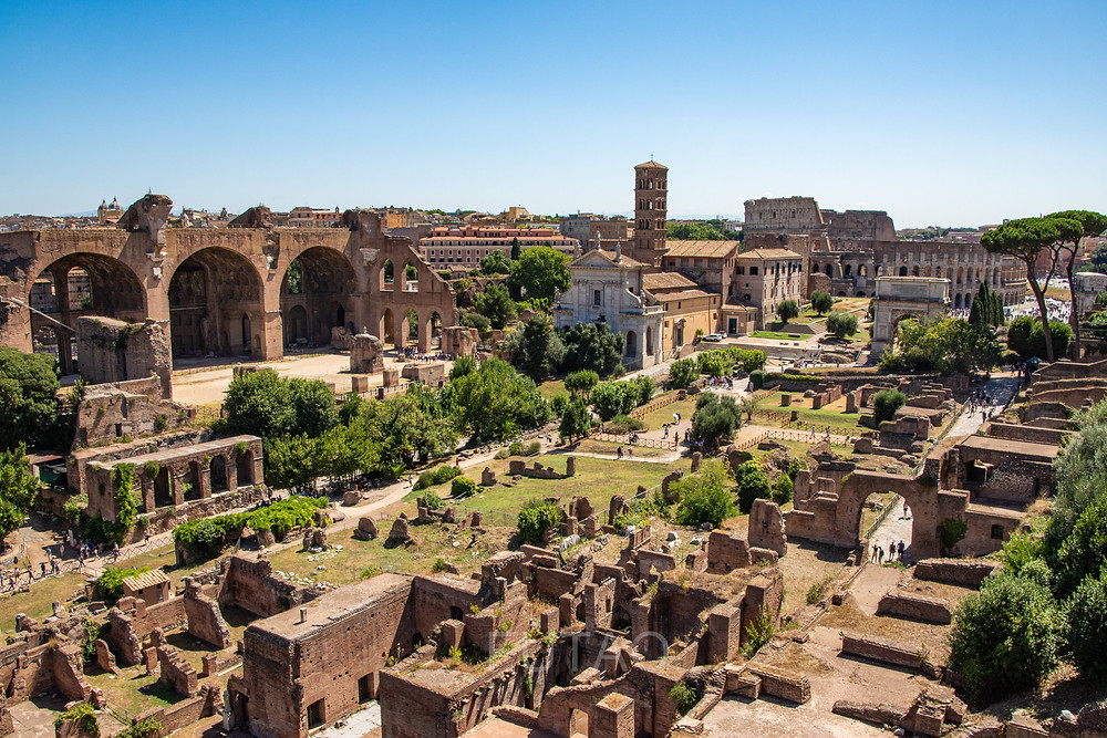 The Roman Forum (with Colosseum in view), Rome Italy