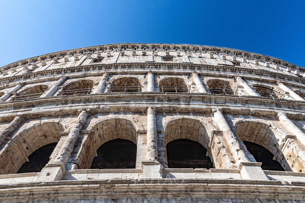 Looking up to the upper levels of the Colosseum (exterior), Rome, Italy