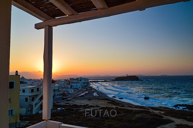 View of the Temple of Apollo from the balcony of Cyano Suites, Naxos, Greece