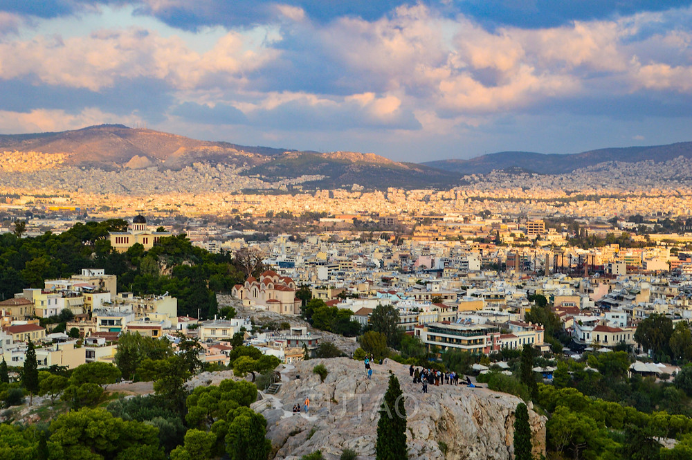 The view from the Acropolis entrance, waiting as the guards passed, Athens, Greece