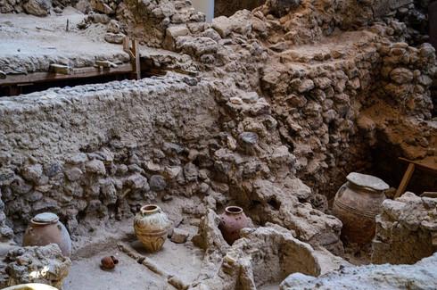 The ancient ruins of Akrotiki, Santorini, Greece