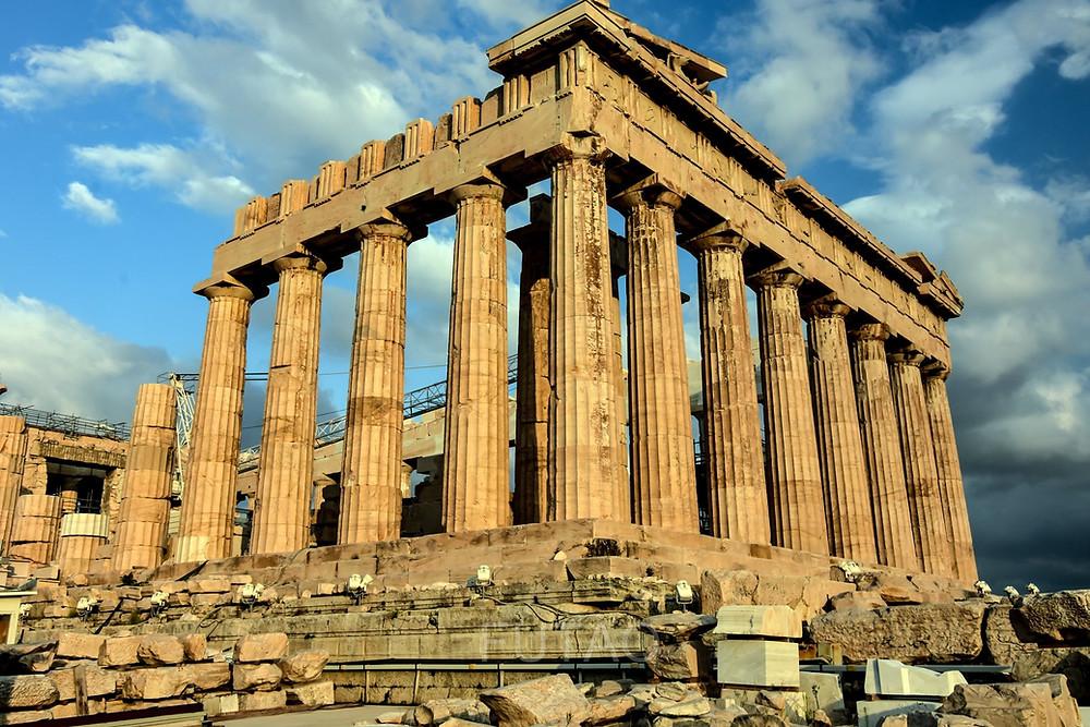 The Parthenon atop Acropolis Hill, Athens, Greece