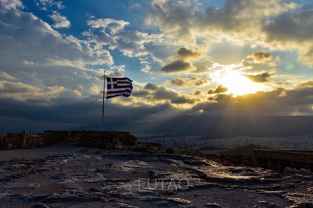 Greek Flag atop the Acropolis