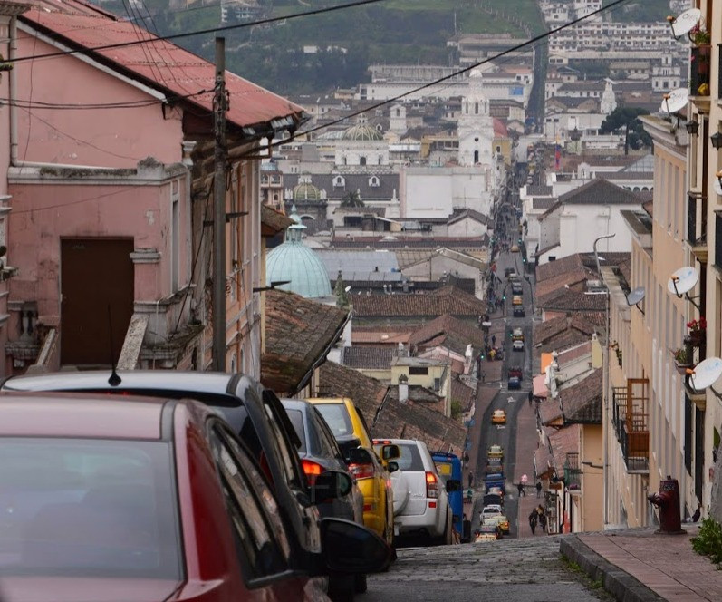 The steep hills and streets of Quito