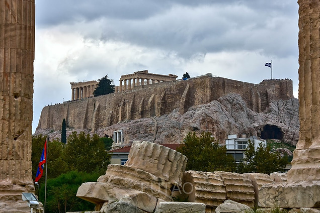 The Acropolis through the Temple of Olympian Zeus, Athens, Greece