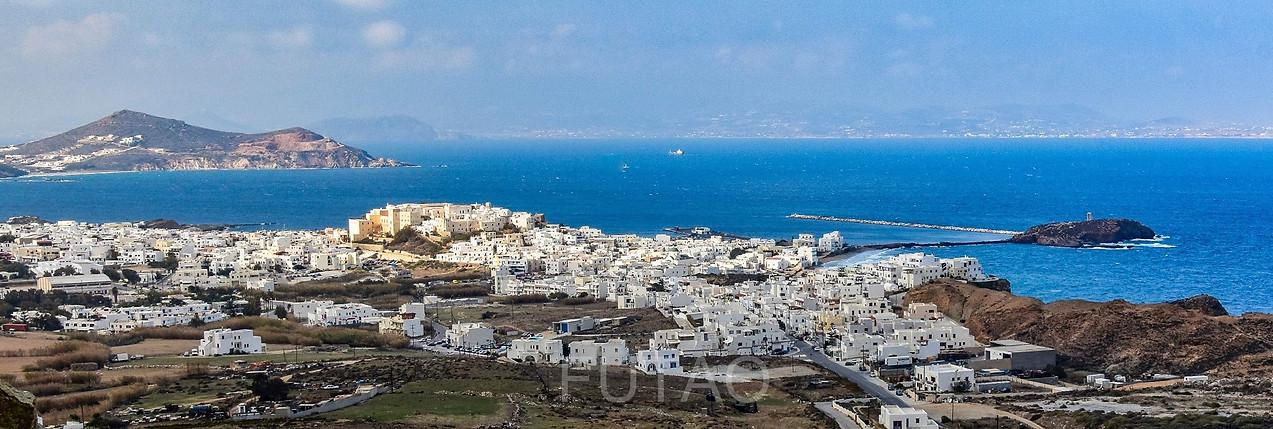 Panoramic view of Chora Naxos from Theologaki, Naxos, Greece