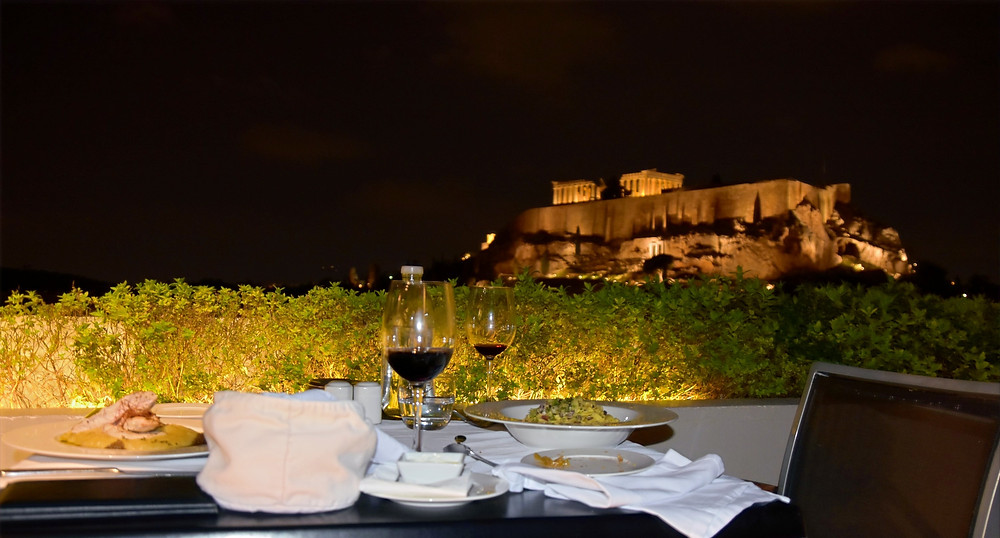 Dinner at the Athens Gate Rooftop Restaurant, Athens, Greece