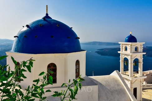 The famous blue domes of Santorini, Greece