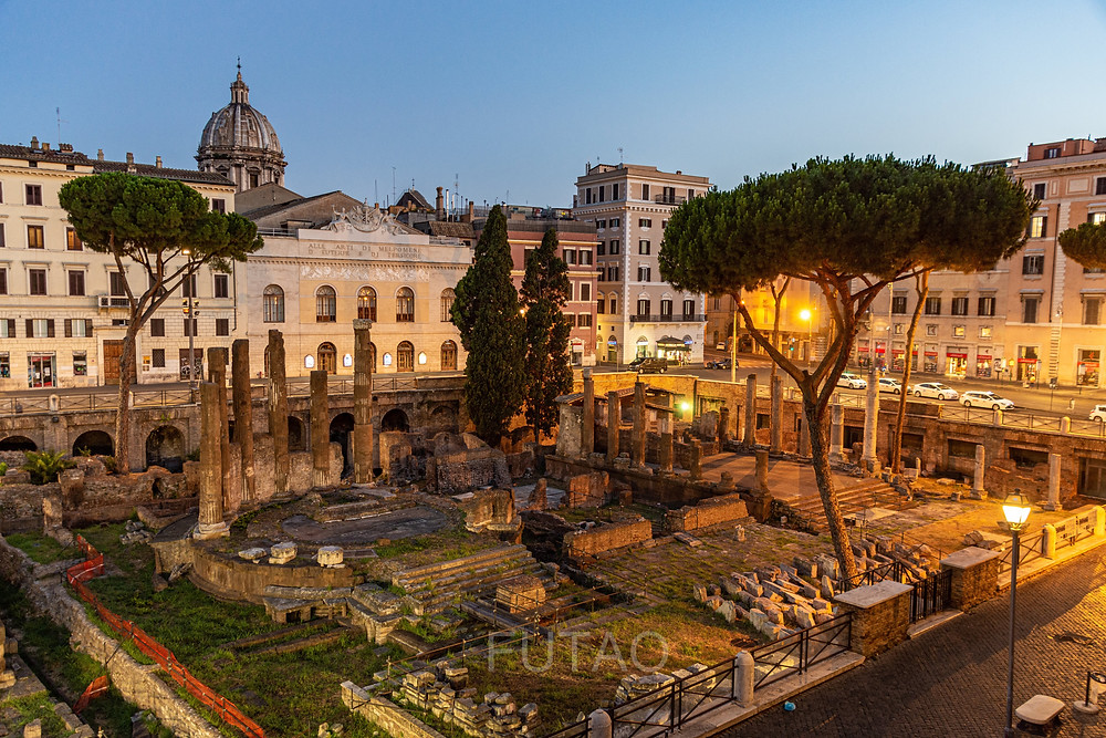 View from our balcony, the Largo di Torre Argentina, Rome, Italy
