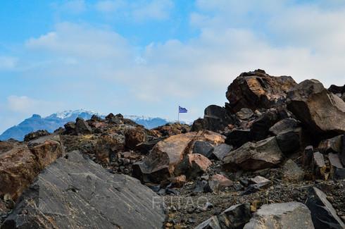 The lava islet of Nea Kameni, Santorini, Greece