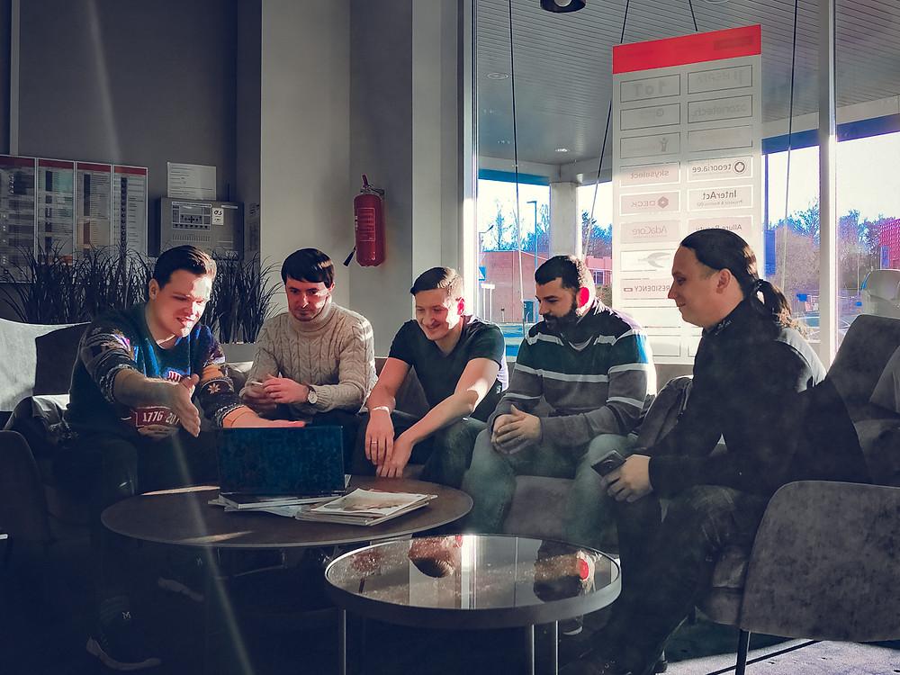 From the left to the right: Alex Bitskov, COO and Co-Founder; Valentin Feklistov, CEO and Founder; Jevgeni Kapparov, CSA and Senior Developer; Jevgeni Shupilov, CIO and Lead Developer; Ilja Bugrejev, CMO.