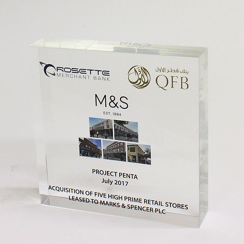 Clear Acrylic Square Financial Tombstone