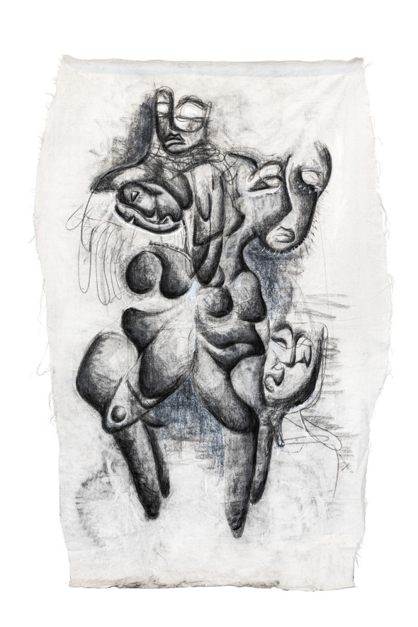 Me-ings I, 9x4ft., charcoal and ink on canvas, 2021
